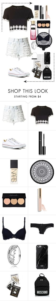 """""""Christmas wishlist!"""" by rhiannonpsayer ❤ liked on Polyvore featuring Topshop, Converse, Chanel, NARS Cosmetics, Linum Home Textiles, Beautycounter, Victoria's Secret, STELLA McCARTNEY, Pandora and Native Union"""