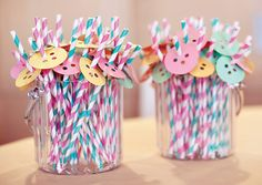 cute as a button birthday party - Google Search - use pixi sticks instead for a sweet treat.