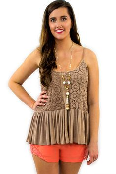 Crochet Ruffles Tank Top - $42.95 - The Crochet Ruffles Tank Top in tan, is now available from our Envy Boutique 2015 Spring Collection. An elegant crochet overlay with a ruffled shirt bottom is all about fashion for the fashionista.  | available at http://www.envyboutique.us/product/crochet-ruffles-tank-top/ |  #Envy #Boutique #fashion #fashiontrends