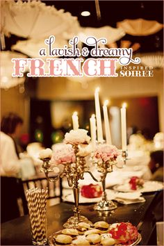 Theme - French Soiree: Real Party went with a pale pink, baby blue and onyx palette along with a Parisian circus vibe to play off of the French influence of New Orleans and to add a whimsical element.