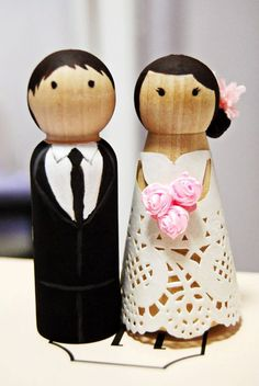 My DIY Cake Topper :  wedding CAKETOPPER-I like the simplicity of wooden dolls