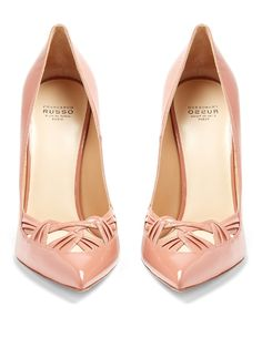 Sophisticated eveningwear calls for ?feminine footwear, and Francesco Russo's glossy antique-pink patent-leather pumps are the perfect? Shoes Heels Pumps, Stiletto Shoes, High Heels Stilettos, Patent Leather Pumps, Leather Shoes, Patent Shoes, Pink Shoes, Pink Pumps, Dream Shoes