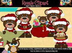 Santa Bears 13a 1 Clipart Digital ZIP File Download by MaddieZee, $2.50