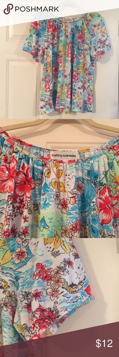 """🆕Cathy Daniels BoHo Blouse EUC Fun sparkly floral. 95% poly/5% spandex. PETITE. 23"""" underarm to underarm/24"""" long. Fab with capris and flats and huge sunglasses! 🌸🌼. 🐱🐶 friendly 🚫 non smoking home.  Items clean and stored in plastic   Happy Poshing! Cathy Daniels Tops Blouses"""
