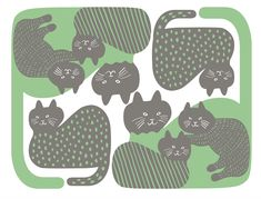 【Cat's family】#illust #textile #design #猫 #cat #イラスト #北欧デザイン #北欧イラスト #テキスタイル Textile Design, Scenery, Textiles, Kids Rugs, Cats, Illustration, Pattern, Animals, Decor