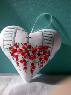 Handmade fabric heart, Lavender Filled Heart, Embroidered Heart