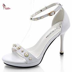 LvYuan Femme Sandales Polyuréthane Eté Habillé Perle Boucle Talon Aiguille Blanc Noir 5 à 7 cm , white , us7.5 / eu38 / uk5.5 / cn38 - Chaussures lvyuan (*Partner-Link)