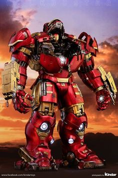 Dedicated to Marvel fans, Hot Toys is honored to present the final 1/6th scale Hulkbuster collectible figure from Avengers: Age of Ultron. The Hulkbuster is such an awe-inspiring figure with high quality and gorgeous detailing. This powerful figure is specially made with an all-new retracting helmet design to display the armor in different stages of suiting up. It stands approximately 55 cm (21 inches) tall, featuring a Mark XLIII bust inside with LED light-up eyes and arc reactor on chest…