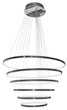 """Die Pendelleuchte """"Saturno"""" von AMBIENTE bringt eine trendige Ausstrahlung in Ihre vier Wände. Die originelle Kreisform der 6 Leuchtelemente ermöglicht ein individuelles Arrangement, ob im Wohnzimmer oder im Speisezimmer. Lassen Sie Ihrer Kreativität freien Lauf und schaffen Sie zuhause ein unverwechselbares Ambiente mit LED-Licht. Diese Hängeleuchte besticht nicht nur durch das hochwertige Gehäuse aus Metall und Acryl - sondern auch durch ihre Optik!"""