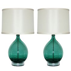 Pair of Vintage Hand Blown Murano Italian Lamps