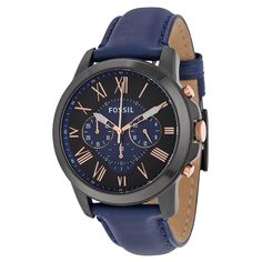 Great sale information Online Fossil Men's Grant Black Stainless Steel Watch with Blue Leather Band Black Stainless Steel, Stainless Steel Watch, Breitling Watches, Fossil Watches, Men's Watches, Jewelry Watches, Blue Band, Blue Crystals, Quartz Watch