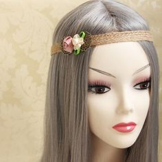 Fresh Style Ribbon Flower Embellished Handmade Hairband For WomenHair Accessories   RoseGal.com