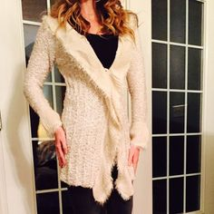 Gorgeous Sweater Jacket. Size Large. Like New! I only wore this gorgeous sweater jacket once. It's in excellent condition. It's so soft, comfortable and flattering  The brand on the tag is Feline. Beautiful ivory/pearl color  Jackets & Coats