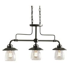 allen + roth 36-in W 3-Light Mission Bronze Island Light with Clear Shade   Lowe's Canada