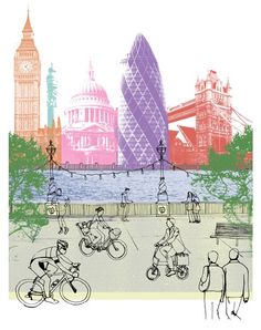 Cycling in London, limited edition print by sarahgooch Cycling In London, Travel Collage, London Illustration, Go Ride, Bike Poster, Art And Craft Design, Collage Artists, Cycling Art, Bike Art