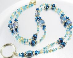 Blue Aqua Topaz and Gold Crystal Beaded Lanyard ID Badge Lanyard Necklace, Necklace Holder, Beaded Necklace, Jewelry Holder, Necklaces, Bracelets, Topas, Beaded Lanyards, Handmade Beaded Jewelry