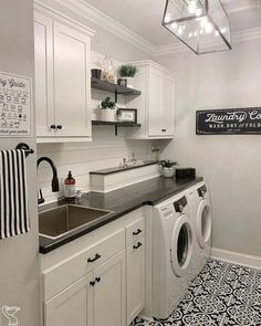36 washroom design ideas that make you want to do laundry 19 # laundryroo . - 36 washroom design ideas that make you want to do laundry 19 # laundryroo … – 36 washroom desig - Mudroom Laundry Room, Laundry Room Shelves, Laundry Room Layouts, Laundry Room Remodel, Farmhouse Laundry Room, Laundry Room Organization, Laundry In Bathroom, Storage Shelves, Laundry Baskets