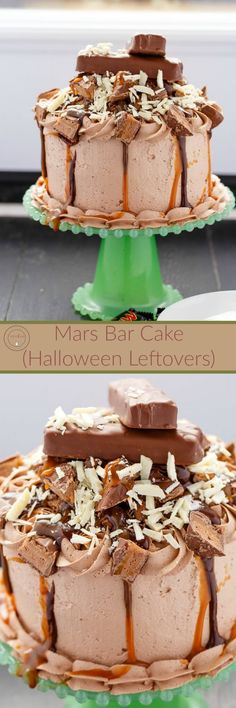 Overloaded Mars Bar Cake | http://thecookiewriter.com | @thecookiewriter | #cake | An awesome chocolate filled cake topped with caramel sauce and ganache; this recipe is perfect for utilizing leftover Halloween candy.