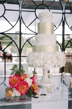 Unique Wedding Cake   White & Metallic Gold Wedding Cake   Chevron Wedding Cake   Modern Wedding Cake Ideas   Photo: Adam Nyholt