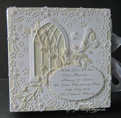 Christening framed box card for twins.