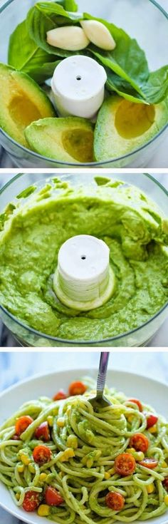 INGREDIENTS   12 ounces spaghetti  2 ripe avocados, halved, seeded and peeled  1/2 cup fresh basil leaves  2 cloves garlic  2 tablesp...