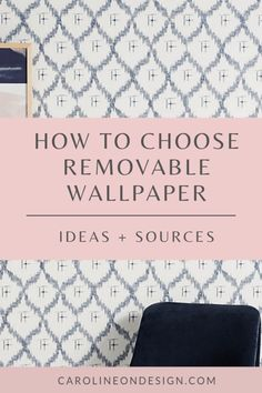 Caroline on Design guide on how to choose removable wallpaper for your home. Included are several temporary wallpaper ideas and sources for where to purchase. Neutral Wallpaper, Of Wallpaper, Peel And Stick Wallpaper, Pattern Wallpaper, Wallpaper Ideas, Renters Wallpaper, Interior Decorating Tips, Interior Design Tips, Decorating Ideas