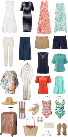 Holiday essentials, what to pack for a beach holiday, summer holiday outfits, beach Capsule Wardrobe, Capsule Outfits, Mode Outfits, Travel Wardrobe, Wardrobe Ideas, Beach Vacation Outfits, Cruise Outfits, Cruise Attire, Beach Vacation Packing