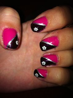black and pink nails with flowers