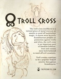 The troll cross (trollkors) is a twisted piece of metal worn as an amulet to ward off malevolent magic. A charm worn by early Scandinavian peoples as protection against trolls and elves, the troll cross is an important part of Scandinavian folklore. Mythological Creatures, Fantasy Creatures, Mythical Creatures, Troll, Norse Pagan, Odin Norse Mythology, Norse Symbols, Roman Mythology, Greek Mythology