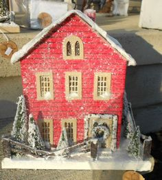 Vintage Style Red Christmas Cottage House Lighted Putz Paper Mache | eBay
