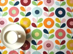 Tablecloth white bright colorful abstract flowers , also table runner , napkins , pillow , curtains available, great GIFT