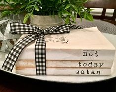 Not Today Satan Decorative Stamped Book Stack Farmhouse Rustic Shabby Chic Home Decor - - Shabby Chic Vintage, Shabby Chic Kitchen, Shabby Chic Homes, Shabby Chic Decor, Old Book Art, Farmhouse Books, Farmhouse Decor, Guest Room Decor, Book Crafts