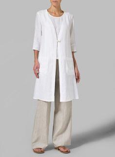 PLUS Clothing - Linen Single-button Oversized Jacket 60 Fashion, White Fashion, Miss Me Outfits, Cool Outfits, Coats For Women, Clothes For Women, Long Tunic Tops, Oversized Jacket, Linen Jackets