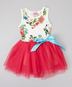 Another great find on #zulily! Hot Pink Floral Tulle Dress - Toddler & Girls #zulilyfinds