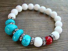 Jade Bracelet, Beaded Bracelet, Turquoise Bracelet, White, Womens Bead Bracelet, Stackable Bracelet, Red Stretch Bracelet, Gemstone Bracelet by BeJeweledByCandi