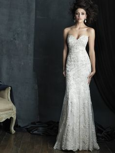 C383 dress (Sheath, Sweetheart,  Strapless ,  Sleeveless ) from  Allure Bridals : Allure Couture 2016, as seen on dressfinder.ca. Click for Similar & for Store Locator.