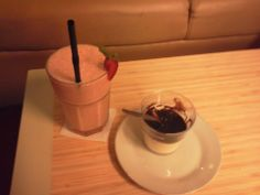 Strawberry Lassi and Panan Cotta Strawberry