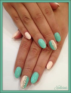 Sea Green nails with strass