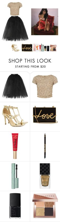 """""""-Glo Queen"""" by thegloup-reina on Polyvore featuring Ballet Beautiful, Alice + Olivia, Dee Keller, Lanvin, Too Faced Cosmetics, Gucci, NARS Cosmetics and Bobbi Brown Cosmetics"""