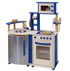 Blue Wooden Play Kitchen infantastic childrens kitchen set in blue-red kids toy pretend