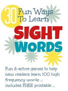 30 fun activities for kids to learn to read high frequency sight words including a FREE printable sight word flash cards