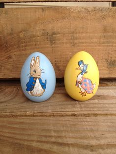 Peter Rabbit  & Jemima Puddleduck Wooden Easter Egg Set, handpainted and personalized by WendyPlank on Etsy
