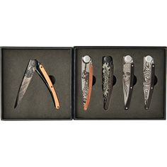 Deejo: Display Box of 5 Biker Tattoo Knives Collector Knives, Biker Tattoos, Display Boxes, All In One, Guns, Shopping, Weapons Guns, Weapons, Collectible Knives