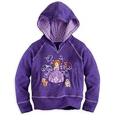 Disney Sofia Hoodie Pullover for Girls | Disney StoreSofia Hoodie Pullover for Girls - Her animal pals Clover, Mia, Robin, and Whatnaught surround the princess-in-training on this Sofia Hoodie Pullover for Girls. Pair this soft warm top with the coordinating Sofia Pants for added royal style.