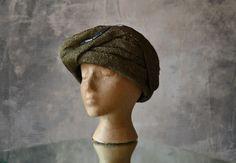 Edwardian Bronze Raffia Hat by Petrune on Etsy 3037e3725b0f