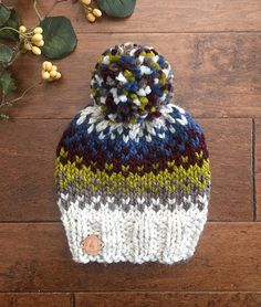 This item is unavailable Chunky Knit Hat//Knit Beanie//Pom Pom Hat//Fair Isle Hat//Knit Hat//Pom Pom Beanie//Adult Hat//Child's Hat//Multi-Colore. Crochet Baby Beanie, Knit Beanie, Knit Crochet, Crochet Hats, Crochet Granny, Loom Knitting, Knitting Patterns, Crochet Patterns, Vogue Knitting