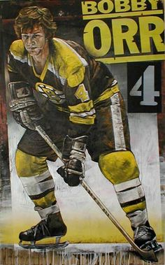 Hocky Great Bobby Orr painted by Stephen Holland, fine art limited edtion prints now in gallerie Boston Bruins Hockey, Pittsburgh Penguins Hockey, Chicago Blackhawks, Hockey Girls, Hockey Mom, Hockey Stuff, Providence Bruins, Hockey Pictures, Bobby Orr