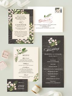 Floral invitation suite perfect for a rustic outdoor wedding. Available on Minted.com and by Minted artist, Griffinbell Paper Co.