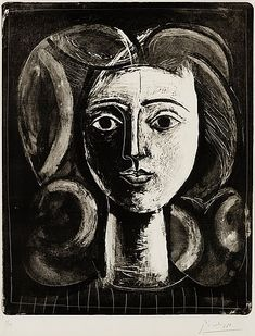Pablo Picasso: Tete de jeune fille, Lithograph, on Arches paper, signed in pencil L. Pablo Picasso, Kunst Picasso, Picasso Drawing, Picasso Art, Picasso Paintings, Picasso Sketches, Picasso Style, Henri Matisse, Illustrations
