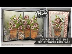 The life, times and paper crafting of Karen Burniston. Flying Card, Pop Up Card Templates, Card Tutorials, Video Tutorials, Paper Pop, Pop Up Box Cards, Artistic Wire, Flower Pots, Flowers